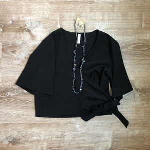 Black Xhilaration Wrap top